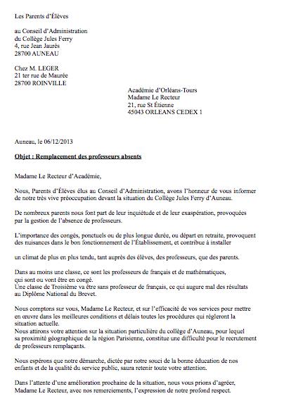 Courrier Adressé Au Rectorat Collège Jules Ferry Auneau